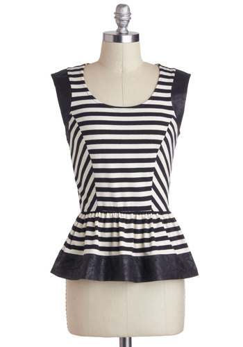 Cutting Edge Chic Top - Cotton, Mid-length, Multi, Black, White, Stripes, Peplum, Sleeveless, Party, Urban, Scoop