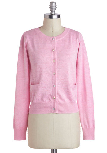Button Jar Cardigan by Yumi - Pink, Solid, Buttons, Pockets, Work, Casual, Long Sleeve, Short