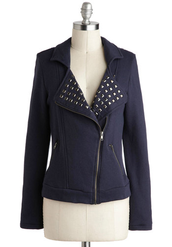 Keep 'Em on Their Motos Jacket - Short, 1, Blue, Solid, Studs, Girls Night Out, Statement, Urban, Long Sleeve