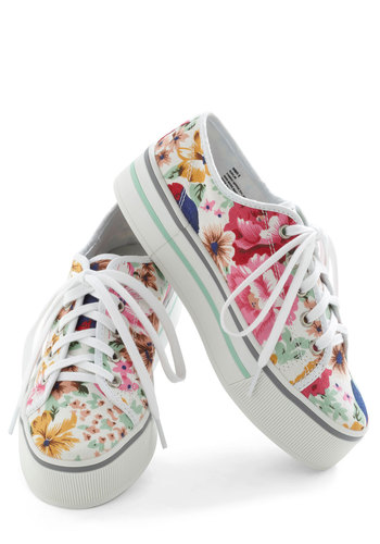 Get Out and Play Date Sneaker - Low, White, Multi, Floral, Wedge, 90s