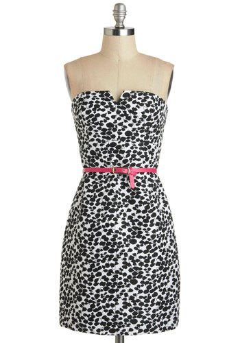Monochrome and Garden Dress - Short, Black, White, Print, Belted, Party, Shift, Strapless, Graduation