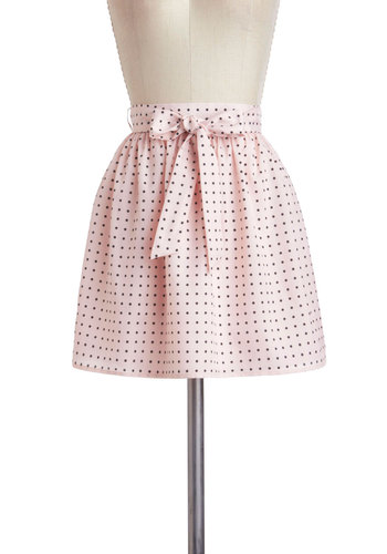 Decades Dance Skirt - Pink, Polka Dots, Belted, A-line, Short, Casual, Pastel, Spring, Mini