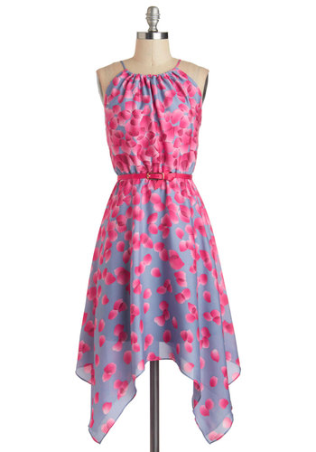 Showered in Sakura Dress - Mid-length, Floral, Handkerchief, Belted, Daytime Party, A-line, Sleeveless, Purple, Pink, Graduation
