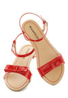 Port Things Out Sandal - Red, Solid, Bows, Faux Leather, Casual, Nautical, Beach/Resort, Summer