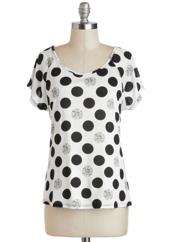 Jewel Never Know Tee - Sheer, Mid-length, White, Black, Polka Dots, Casual, Short Sleeves, Statement, Travel, Top Rated