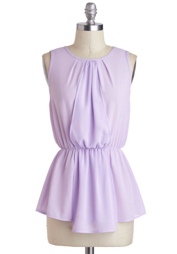 Color Coordinator Top - Sheer, Mid-length, Purple, Solid, Work, Daytime Party, Pastel, Peplum, Sleeveless, Crew, Summer