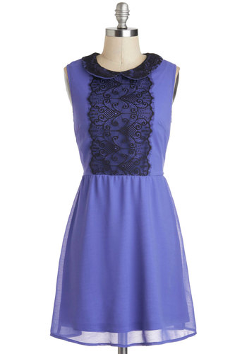 Morning, Noon, and Moonlight Dress - Mid-length, Purple, Black, Lace, Peter Pan Collar, Party, A-line, Sleeveless, Collared, Vintage Inspired