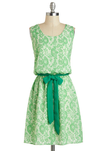 Billow and Behold Dress - Mid-length, Green, Floral, Belted, Daytime Party, A-line, Tank top (2 thick straps), Graduation, Summer