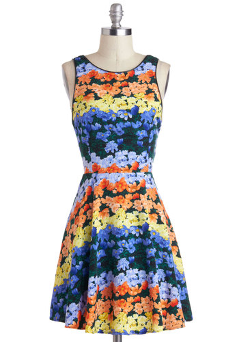 Landscape Starchitect Dress - Mid-length, Multi, Orange, Yellow, Green, Purple, Floral, Daytime Party, A-line, Tank top (2 thick straps)