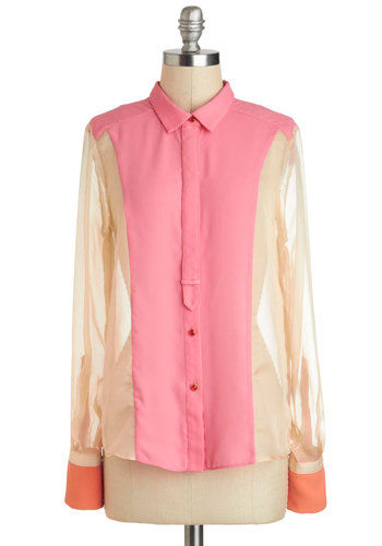 The Right Cuff Top - Sheer, Mid-length, Pink, Tan / Cream, Solid, Buttons, Neon, Long Sleeve, Collared, Coral, Work, Colorblocking
