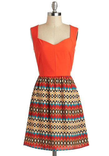 Zest for Last Dress - Mid-length, Orange, Blue, Tan / Cream, Black, White, Multi, Casual, A-line, Tank top (2 thick straps), Sweetheart, Boho, Chevron