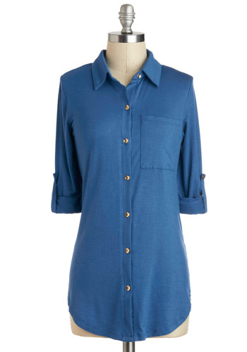 Keep it Casual-Cool Top in Blue - Jersey, Mid-length, Blue, Solid, Buttons, Epaulets, Pockets, Casual, 3/4 Sleeve, Collared, Menswear Inspired, Variation, Travel, Nautical, Top Rated, Blue, Tab Sleeve