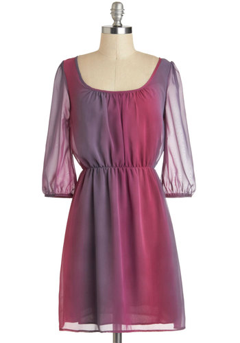 Sunset Storm Dress - Short, Pink, Purple, Grey, Backless, Party, A-line, 3/4 Sleeve, Ombre, Purple