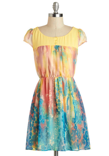 Printmaking an Impression Dress - Short, Multi, Yellow, Blue, Pink, Print, Buttons, Daytime Party, A-line, Cap Sleeves, Floral, Graduation