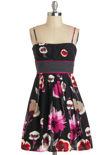 Walk into the Bloom Dress - Black, Red, Pink, Tan / Cream, Floral, Pleats, A-line, Daytime Party, Summer, Gifts Sale
