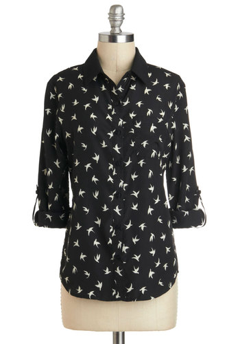 Nest Door Neighbor Top - Mid-length, Black, White, Print with Animals, Buttons, Pockets, Work, 3/4 Sleeve, Collared, Black, 3/4 Sleeve