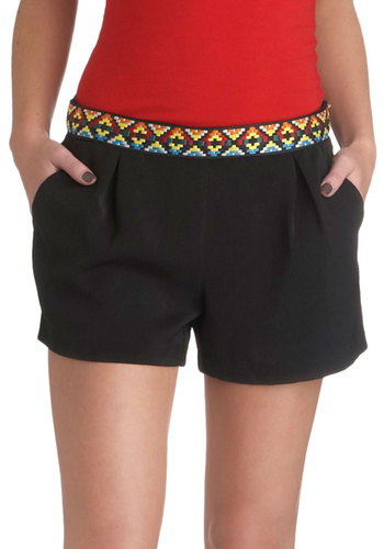 Color Code Shorts - Black, Solid, Pleats, Casual, Embroidery, Summer