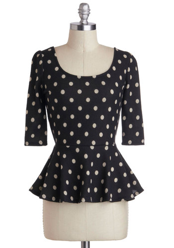 Convertible Cruise Top - Mid-length, Black, White, Polka Dots, Girls Night Out, Pinup, Vintage Inspired, Peplum, 3/4 Sleeve, Cutout, Scoop, Black, 3/4 Sleeve