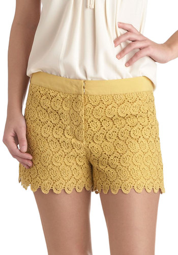 Bike It Rich Shorts - Cotton, Yellow, Crochet, Daytime Party, Beach/Resort, Short, Solid, Lace, Nautical, Pastel