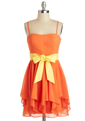 Chef's Table Dress in Citrus - Chiffon, Short, Orange, Yellow, Solid, Belted, Party, Daytime Party, A-line, Strapless, Spaghetti Straps, Graduation