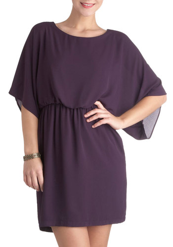 Seen in Aubergine Dress - Short, Purple, Solid, Backless, Party, A-line, Short Sleeves