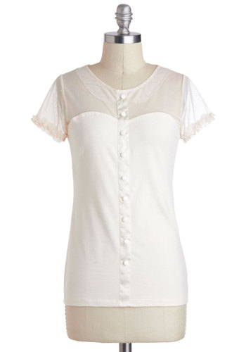 Iconic Presence Top in Ivory by Effie's Heart - White, Solid, Buttons, Ruffles, Short Sleeves, Sheer, Mid-length, Work, Daytime Party, Variation, Pinup, 60s, Best Seller, Valentine's, White, Short Sleeve
