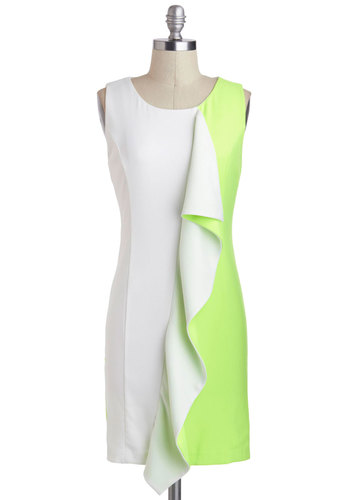 Vibe and Go Seek Dress - White, Green, Ruffles, Party, Sheath / Shift, Tank top (2 thick straps), Mid-length, Colorblocking, Beach/Resort