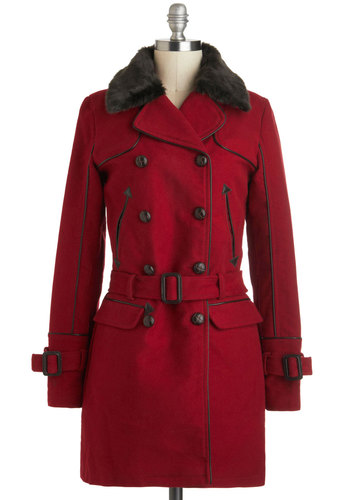 Going Rouge Coat - Long, Cotton, 4, Red, Solid, Buckles, Buttons, Double Breasted, Long Sleeve, Casual, Winter, Faux Fur