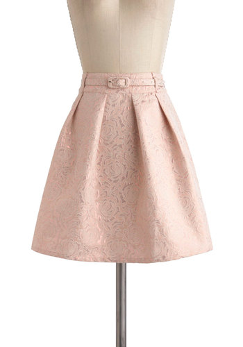 Sweep Me Off My Pleats Skirt by Yumi - Pink, Floral, Pleats, Party, A-line, Belted, Short, Pastel