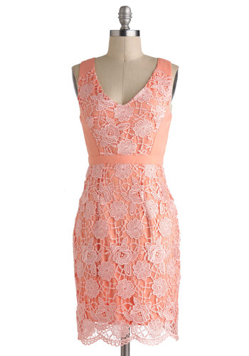 Peaches and Gleam Dress - Pink, Solid, Crochet, Lace, Vintage Inspired, Sheath / Shift, Sleeveless, Spring, Mid-length, Cutout, Daytime Party, Coral