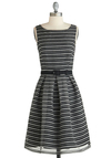 Heather Nor There Dress by Eva Franco - Mid-length, Stripes, Pleats, Belted, Party, A-line, Tank top (2 thick straps), Black, White, Exclusives, Work