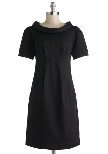 Avenue Edition Dress by Emily and Fin - International Designer, Cotton, Mid-length, Black, Solid, Pockets, Sheath / Shift, Short Sleeves, Boat, Party, Work, Vintage Inspired, 60s, Mod