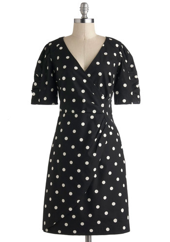 My Kind Of Glam Dress by Emily and Fin - International Designer, Cotton, Mid-length, Black, White, Polka Dots, Ruching, Casual, Vintage Inspired, Wrap, Short Sleeves, V Neck, Work