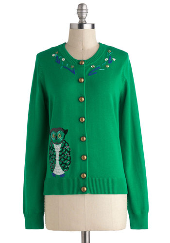 Best in Craft Cardigan by Knitted Dove - Green, Blue, Beads, Owls, Long Sleeve, Mid-length, Work, Vintage Inspired, Scholastic/Collegiate