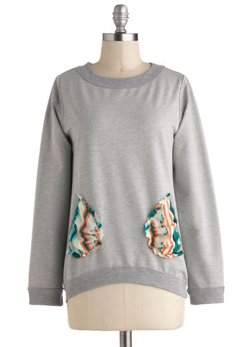 Birds of a Heather Top - Grey, Print with Animals, Pockets, Casual, Long Sleeve, Jersey, Cotton, Multi, Mid-length, Crew, Travel