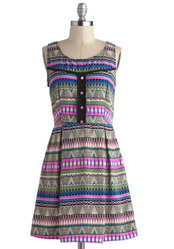 Pattern Up the Music Dress - Multi, Print, Buttons, Casual, Sleeveless, Summer, Mid-length, Pleats