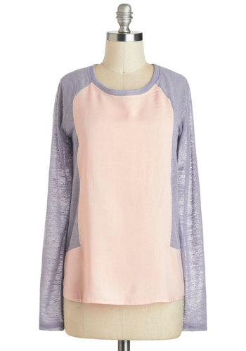 Again and Raglan Top - Pink, Grey, Solid, Casual, Long Sleeve, Menswear Inspired, Crew, Mid-length, Travel