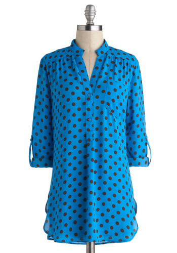 Save Me a Spot Top - Long, Blue, Black, Polka Dots, Buttons, Epaulets, Pockets, Vintage Inspired, 80s, 3/4 Sleeve, Blue, Tab Sleeve
