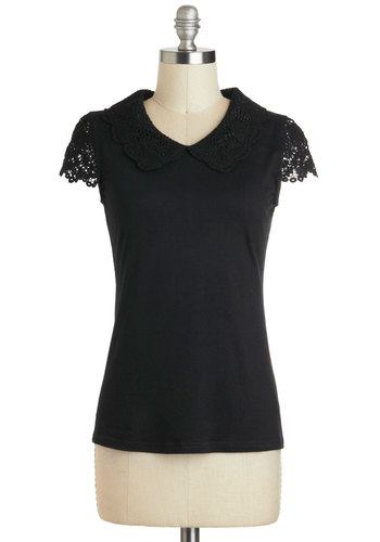 You Know It Top - Mid-length, Black, Solid, Lace, Peter Pan Collar, Work, Cap Sleeves, Collared, Black, Short Sleeve, Lace