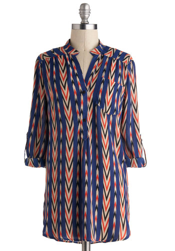Optical Delight Top - Long, Multi, Red, Blue, White, Print, Buttons, Pockets, 3/4 Sleeve, Chevron, Top Rated
