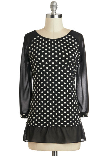 The Dot That Counts Top - Mid-length, Sheer, Black, White, Polka Dots, Long Sleeve