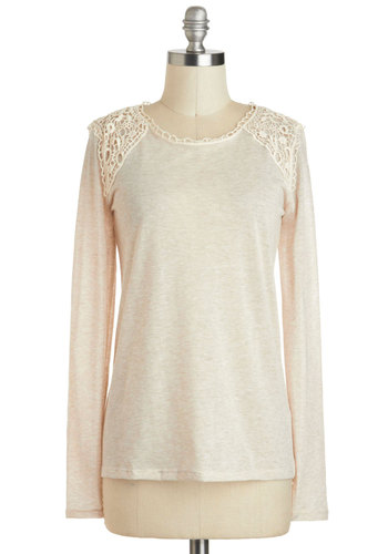 Sipping Soy Lattes Top - Cream, Solid, Eyelet, Casual, Long Sleeve, Mid-length, Travel