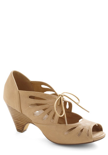 Lace Me Up Before You Go-Go Heel in Tan by Chelsea Crew - Mid, Tan, Solid, Cutout, Vintage Inspired, 20s, 30s, Lace Up, Peep Toe, Variation, 60s
