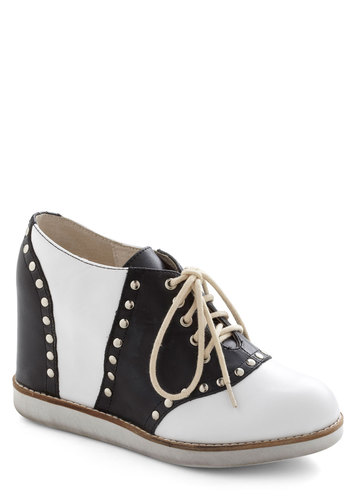 Lindy Rocker Wedge by Jeffrey Campbell - Black, White, Solid, Studs, Menswear Inspired, Wedge, Lace Up, Mid, Leather, Rockabilly, Vintage Inspired