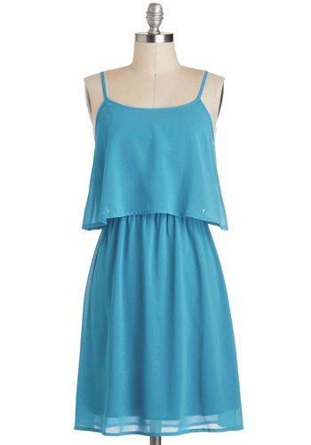 Sweeten the Teal Dress - Mid-length, Blue, Solid, Cutout, Casual, A-line, Spaghetti Straps, Summer