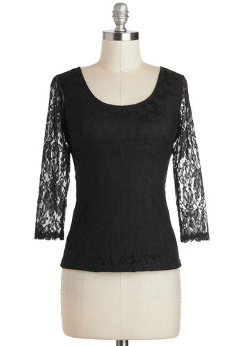 Sheer Sophistication Top - Sheer, Mid-length, Black, Lace, Cocktail, Girls Night Out, Film Noir, Long Sleeve, Cutout, Scoop