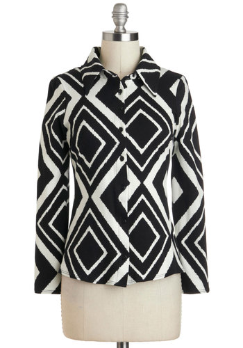 Ten Out of Tenacious Top - Black, White, Buttons, Long Sleeve, Cotton, Mid-length, Print