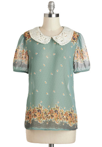 Gazing at the Gardens Top - Sheer, Mid-length, Green, Tan / Cream, Polka Dots, Floral, Eyelet, Peter Pan Collar, Work, Vintage Inspired, Short Sleeves, Yellow