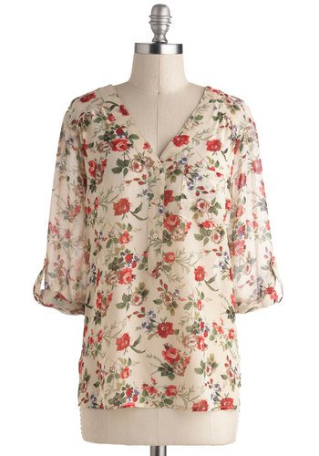 Garden Sheers Top - Sheer, Mid-length, Cream, Red, Green, Floral, Buttons, Epaulets, Pockets, 3/4 Sleeve, Work