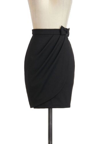 Tulip to Tango Skirt - Black, Solid, Bows, Pleats, Work, Film Noir, Vintage Inspired, Pencil, Party, Black, Short